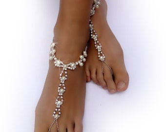 Crystals and Ivory Pearl foot Jewelry. Beach Wedding Accessory. Clear Rhinestones. Barefoot Sandals. Boho Anklets. Pair. Set of 2 pcs.