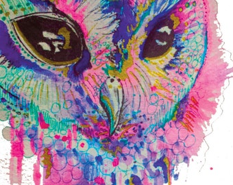 Pink, blue and green illustrative owl print