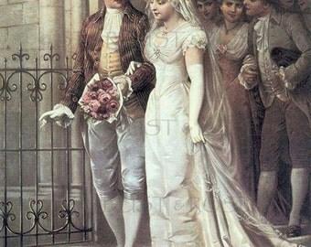 ANTIQUE WEDDING ArT DOWNLOAD Bride & Groom - Instant Digital Print  Vintage Marriage Junk Journal Altered Art Frameable Scrapbooking  no3489