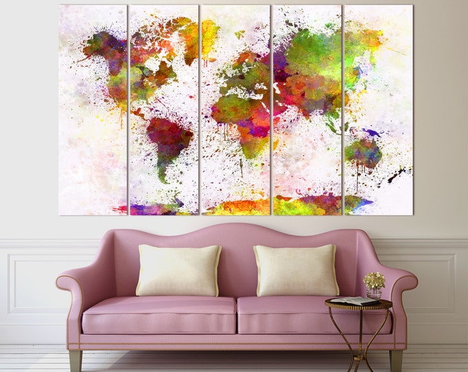Large Colorful Watercolor World Map Canvas Print, Modern world map / 1 - 5 Panels on Canvas Wall Art for Home & Office Decoration