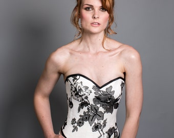 Silk Corset with Silk chiffon sequined print overlay