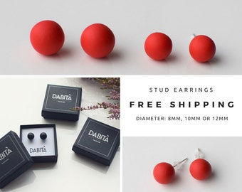 Red studs, Matte Red earrings, Small Round earrings, Matte red studs, Ball earrings, Christmas gift, Red stud earrings, Ball Posts earrings