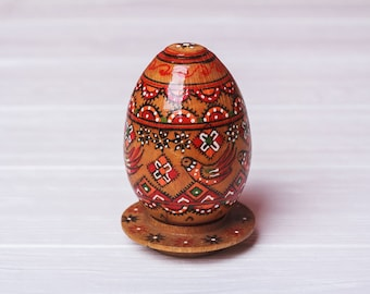 Vintage pysanka egg Chic wood egg Hand painted egg Ukranian folk art Easter wood egg Easter ornament Ukranian wooden egg