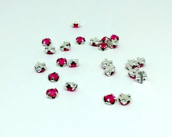 12 Rose Bead, 4mm Swarovski Crystal and Silver Plated Pewter, with Rose Montées Flat Back, SS16 Swarovski Crystal, Coral Bead, YC6272