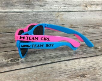 Gender Reveal ADULT Personalized Sunglasses, Team Girl, Team Boy, Mustache and Bows, Staches and Lashes, He or She, Pink and Blue