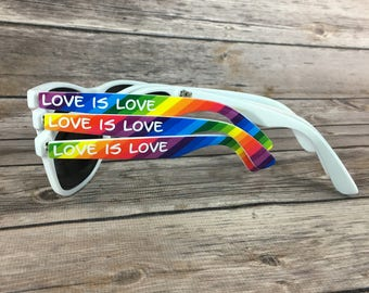 Rainbow ADULT Personalized Sunglasses, Wedding Favor, Bachelorette Party Favor, Rainbow Sunglasses, Pride Glasses, LGBTQ Party Favors