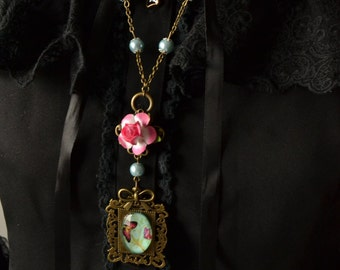 Butterfly necklace with flower and pearls framed - elegant mori kei fashion classic lolita