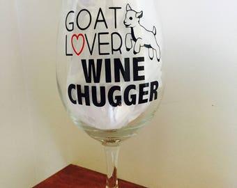 Goat Lovers Wine Chuggers  - Farm animal Rescue Wine Glass - Goat Wine Glass - Farm Sanctuary - Coworker, Farmer, Friend, Birthday, Goats