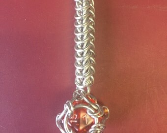 Orange d20 Key chain