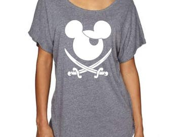 Woman's Disney Loose Dolman T Shirt with Mickey Mouse Pirate great for fans of Pirates of the Caribbean ride in Disney World and Disneyland