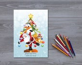 Christmas card print Christmas cards Instant Download Christmas tree Santa Claus card Christmas Snowman card Reindeer Christmas cards 5X7