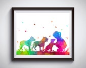 Pit bulls print, Nursery decor, Girl with dogs, Watercolor painting, Rainbow art, Pit bulls lovers gift, Girly gift, Dog painting, Fine art