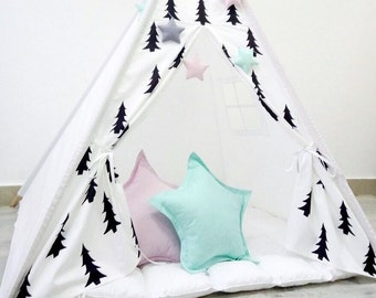 Kids Black and White Tepee with Trees