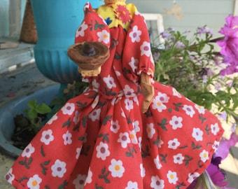 Vintage wood Native American doll