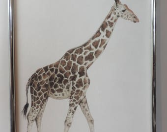 giraffe illustration print A4