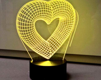 Hearts 3D Optical illusion LED Lamp 7 colours