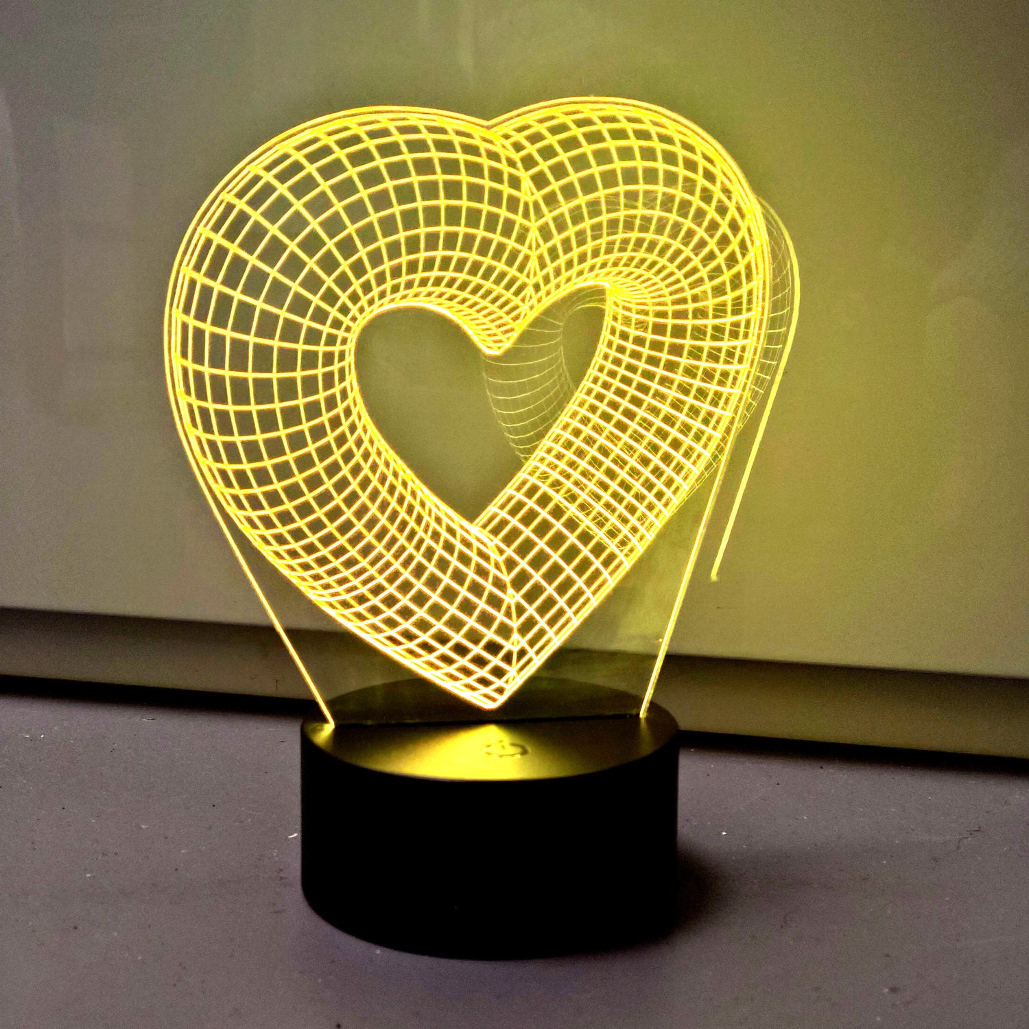 Hearts 3D Optical Illusion Lamp RGB Dimmable Night Light With