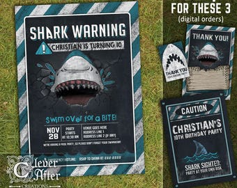 Shark Invitation Shark Birthday Invitation Shark Attack warning chalkboard invite chomp, skark, pool party swimming party printable printed