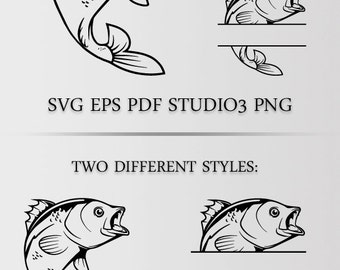 Fishing SVG , Bass SVG cutting file for silhouette, svg file for cricut, pdf, vinyl design, fish clipart cutting template, fisherman gear