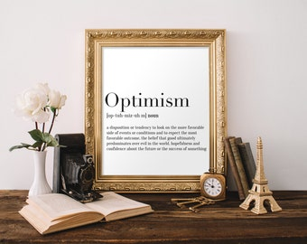 Optimism Definition Print , Dictionary Art, Word Poster, Downloadable Print, 8x10 Print, 11x14 Print, Definition Poster