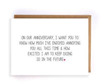 funny anniversary card for him, paper anniversary cards for husband, cards for wife, anniversary gifts for boyfriend, 10th anniversary GC133