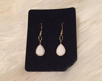 Simple White Earrings
