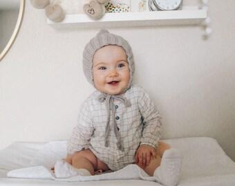 Clay Knit Bonnet, Pixie Bonnet, Hand Knit Baby Hat, Pixie Hat, Sizes Newborn to Age 2
