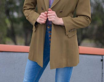 Double Breasted Blazer | Fitted Blazer | 90s Blazer | Jill Sander Blazer |  Double Breasted Blazer Women's | Green Coat for Women