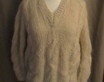 1950s Cream-Colored Cable Knit Mohair Sweater