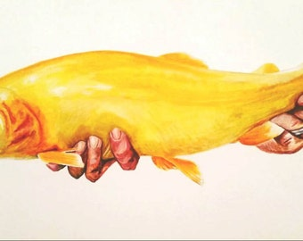 """18x24 """"Catch and Release"""" Style-Watercolor Commission ON PAPER"""