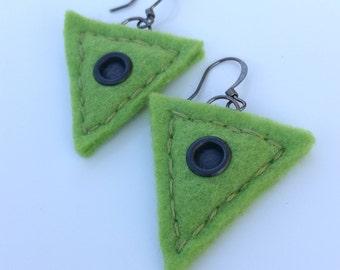 Modern lightweight olive green felt earrings