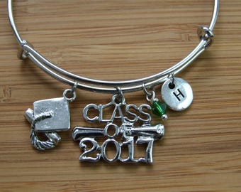 Graduation Bangle Bracelet, Class of 2017, Graduation Charms, 2017 Graduates Gift, Keepsake, Graduation Gift, Senior Year Gift, Monogram