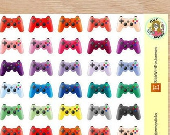 MINI Video Game Controllers, Gaming, Rainbow, Personal Sticker, Compatible with Erin Condren, Filofax, Inserts, TN, Happy Planner
