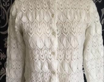 Vintage Women's Delicate White Cardigan Sweater