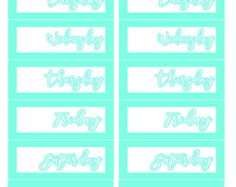 Simple Teal Date Covers Planner Stickers