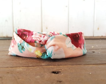 Light Pink Floral Headband, Baby Girl Flower Headband, Baby Girl Fabric Headband