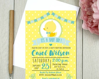 Baby duckling baby shower, rubber duck invitation, duckie theme party, baby duck, duckling, rubber duckie.