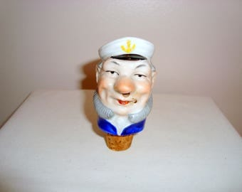 Vintage Sailor Porcelain Cork Oil/ Vinegar Bottle Stopper Pourer with Bushy Beard #12/66