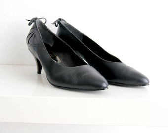 Vintage Black Leather Shoes Black Bally Shoes Pointed Toe Shoes Black Pumps Heeled Shoes 80s 39 Size Shoes Women's Vintage Shoes Size 6.5