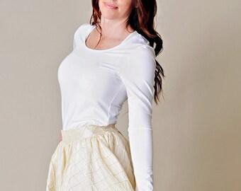 Julie Bamboo Women's Shirt, Bamboo Fabric Shirt, Bamboo Woman Shirt, Long Sleeve, Women's White Shirt, Woman White Top