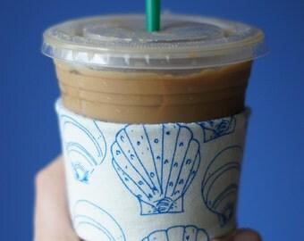 Coffee Cozy - Seashell Print, Shell Coffee Cozy, Beach Coffee Cozy, Seashell Coffee Sleeve,