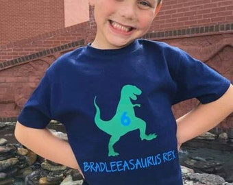 Kids T-REX dinosaur shirt personalized with Name & Age