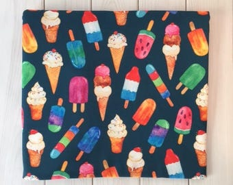 Watercolor Ice Cream on Teal Quilting Fabric. Fabric by the Yard. Cotton Knit Jersey Minky. Dessert Popsicle Food Kids Baby Summer Colorful