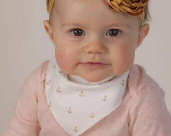 Gold anchors - Anchor gift - bandana bib - bib- nautical theme baby - Baby shower gift - Anchor baby shower - teething bib - baby must have