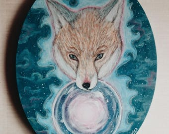 SALE DESTOCK Original Oval Fox Painting, Crystal Ball Painting, Magic, Whimsical Art, Wicca Painting, Spirit Animal, Boho Art, Nursery Art