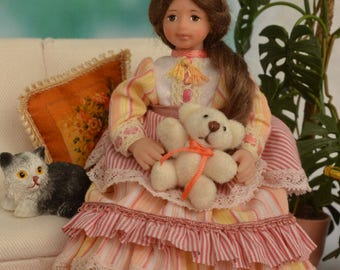 Miniature Doll Polymer  1:12 Scale Clay Miniatures Collectible Miniature Dollhouse  Girl Doll  Realistic Miniature Dolls