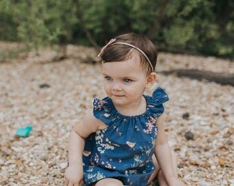 Bubble romper for baby girls - romper for toddler girls - girls flutter sleeve romper - girls spring romper - spring romper for baby girl
