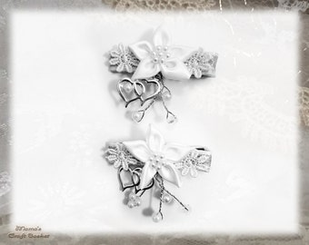 "White Lily Hair Barrettes With Hearts, 2"" Wide x 2"" Long, Bride, Bridesmaid, Flower Girl, Maid of Honour, Pearls, Silver, Shiny, Wedding"