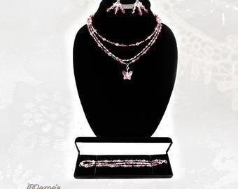 Luscious Pink Swarovski Butterfly Tri-Strand Necklace Set, Grey, Purple, Glass Beads, Nickel Free, Graduation, Wedding, Bicone, Pretty