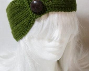 Vintage Style Headband/Earwarmer in Olive Green